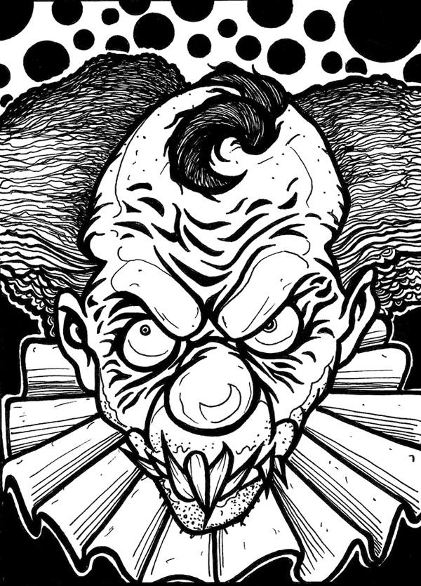 evil clown coloring pages drawnwest clowns pages coloring clown evil