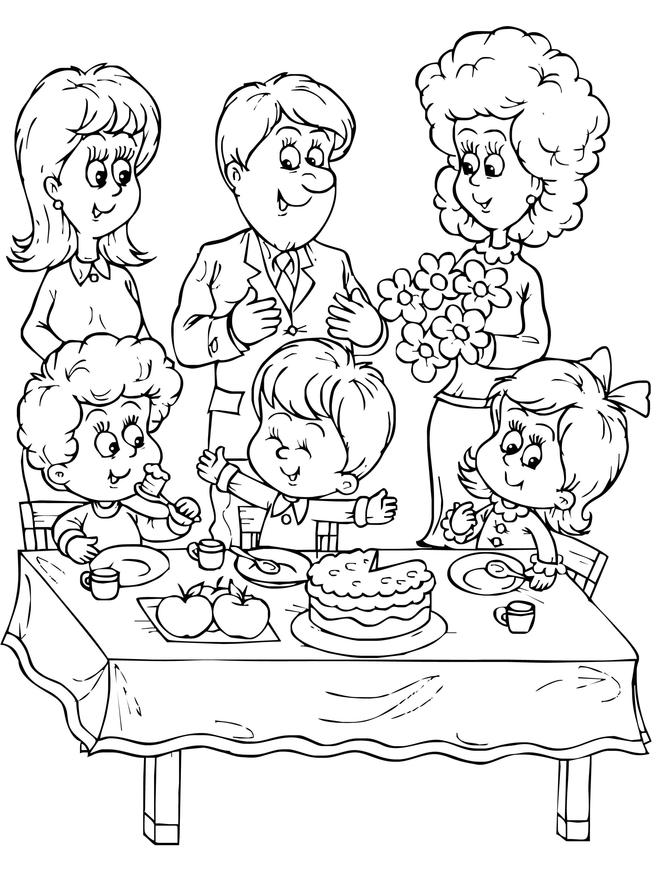 family coloring sheets family holiday picnic coloring page netart sheets coloring family