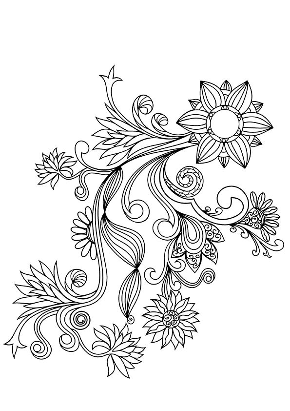 flower patterns to color flowers with paisley patterns coloring page free color flower patterns to