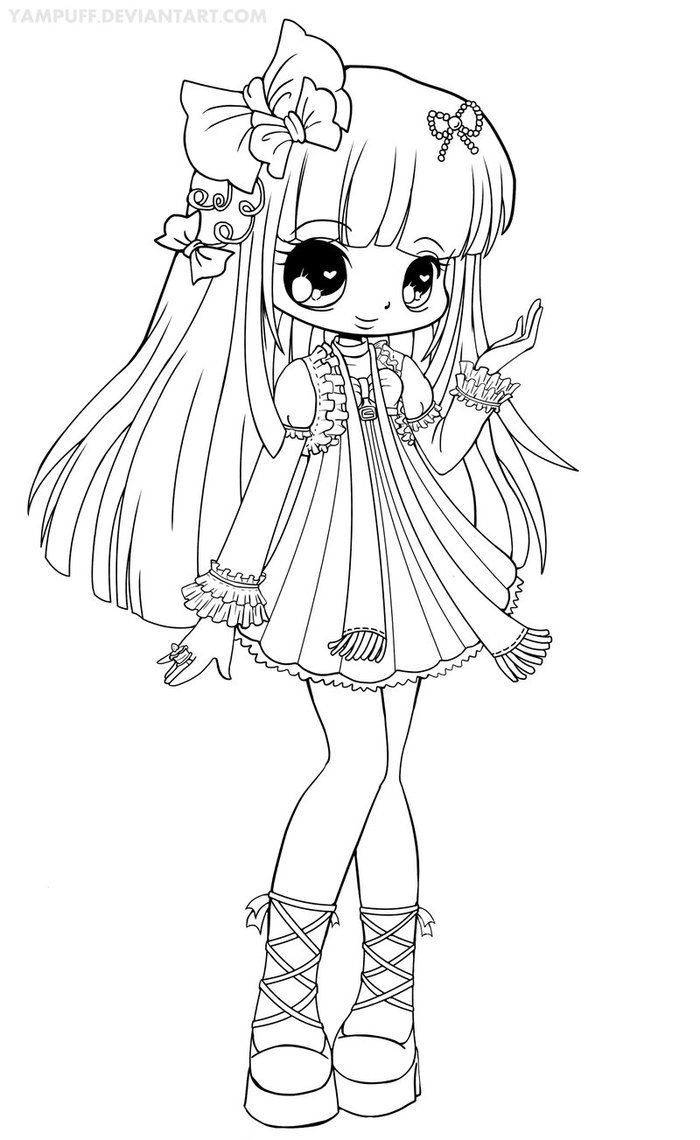 free girl coloring pages coloring for adults kleuren voor volwassenen chibi girl coloring free pages