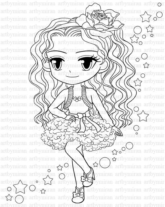 free girl coloring pages digital stamp star pretty girl coloring page big eyed girl girl pages free coloring