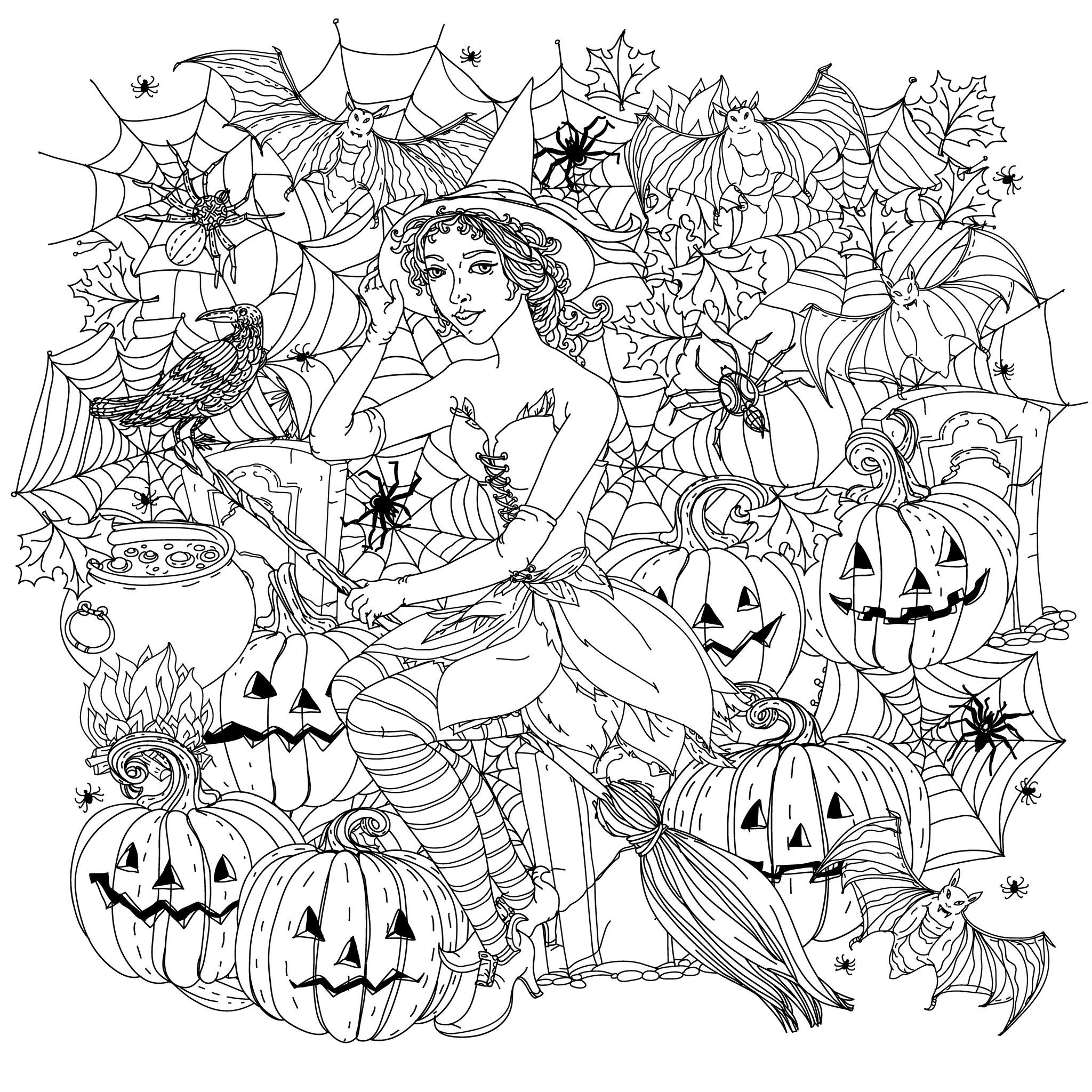 free halloween coloring sheets for adults incredible fashion woman dressed like a witch crows coloring adults free halloween for sheets