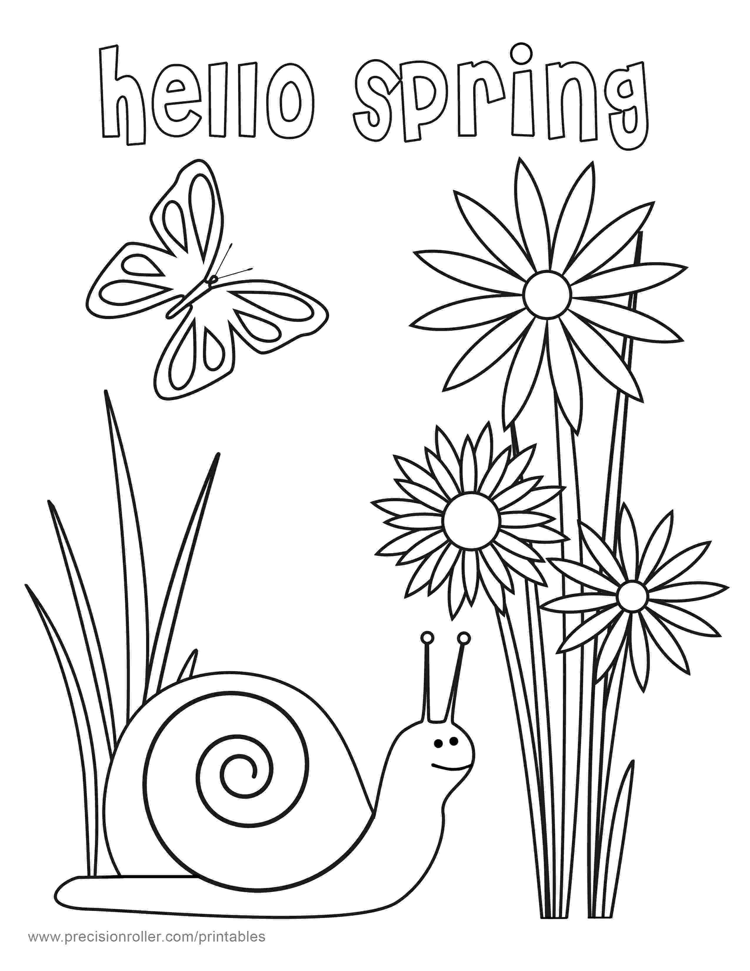 free printable coloring pictures of spring hello spring coloring page precision printables coloring printable free of pictures spring
