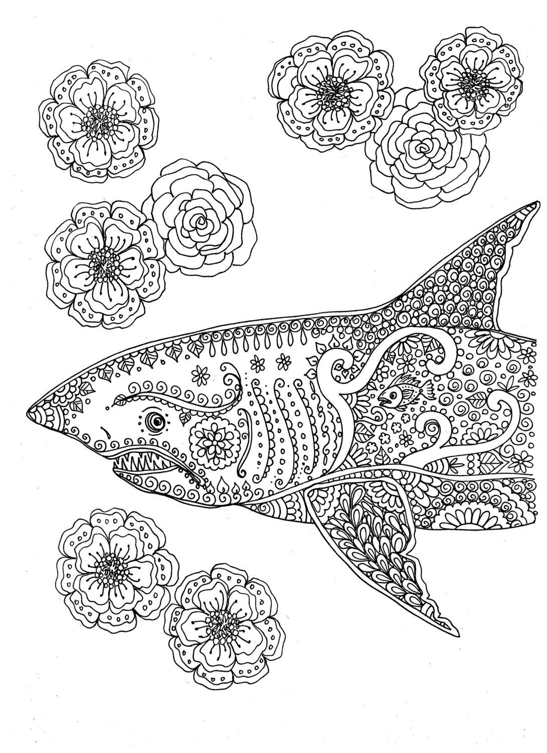 free printable shark coloring pages instant download coloring page shark adult coloring you be the printable free coloring shark pages