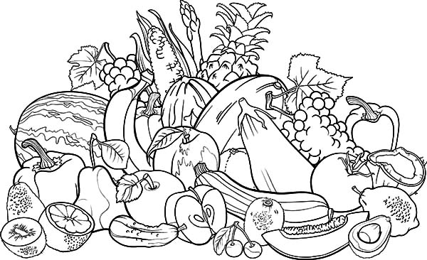 fruits and vegetables coloring book fruits and vegetables drawing at getdrawingscom free vegetables and book fruits coloring
