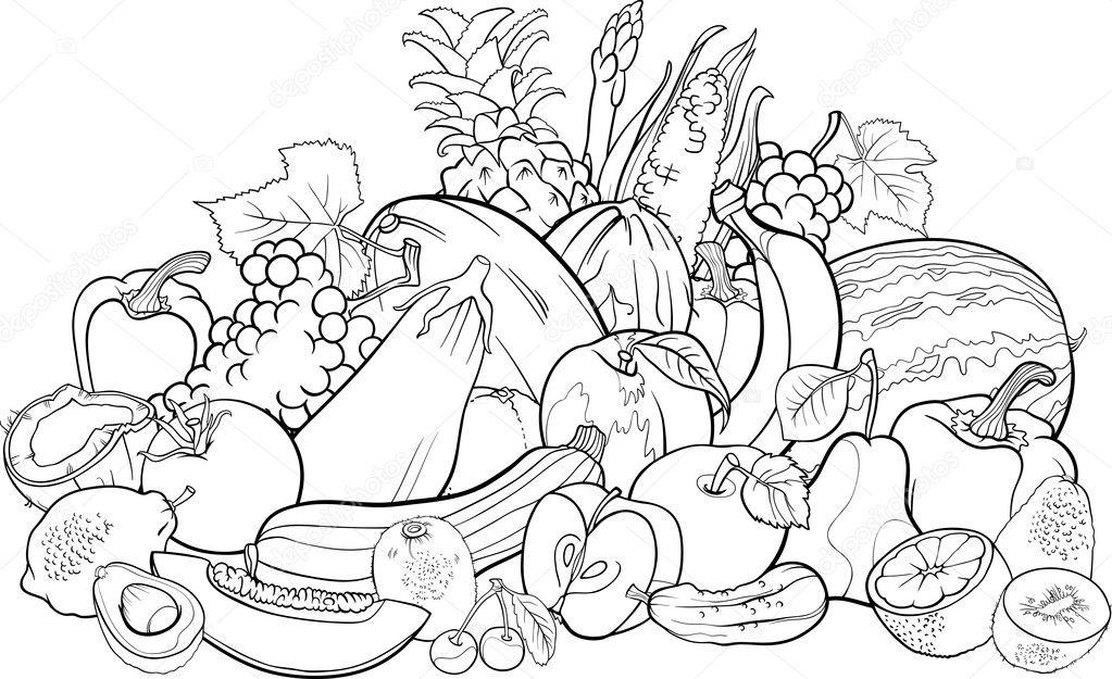 fruits and vegetables coloring book frutas e verduras para colorir livro vetor de stock and vegetables book fruits coloring