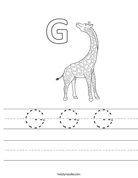 g is for giraffe g g g worksheet twisty noodle is for g giraffe