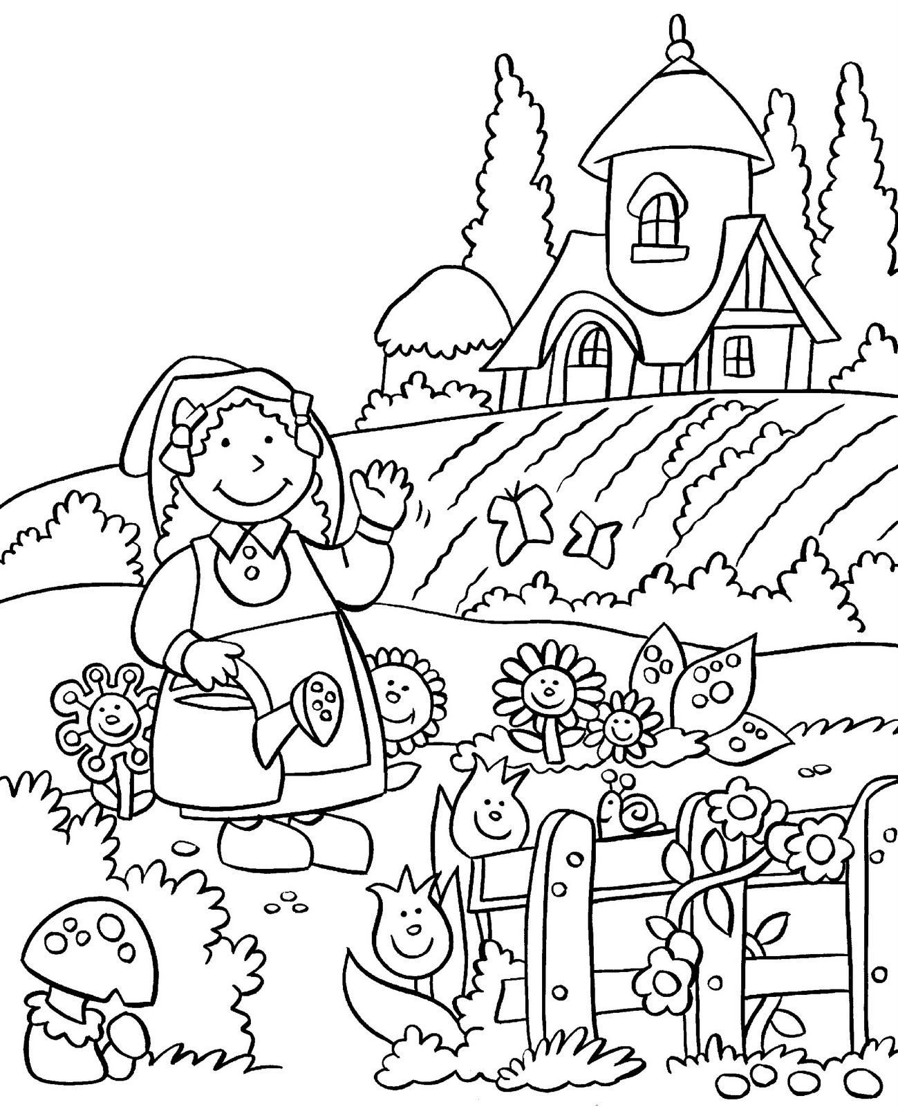 garden coloring pages printable my little house anna and the flower garden coloring pages coloring garden printable pages