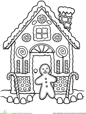 gingerbread colouring pages gingerbread house coloring worksheet educationcom colouring gingerbread pages