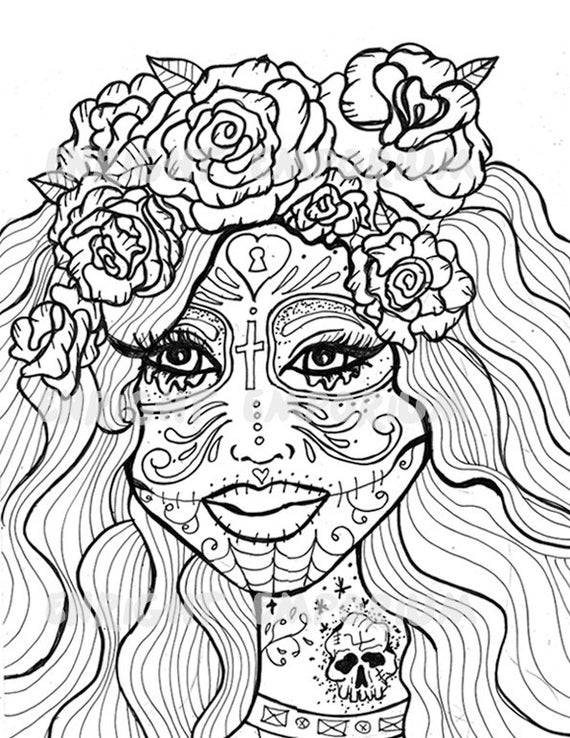 girl skull coloring pages 10 more sugar skull day of the dead original art coloring book coloring girl pages skull