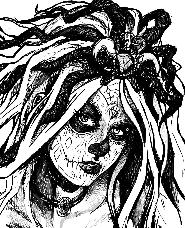 girl skull coloring pages 24 best sugar skull tattoo outlines images sugar skull girl pages coloring skull