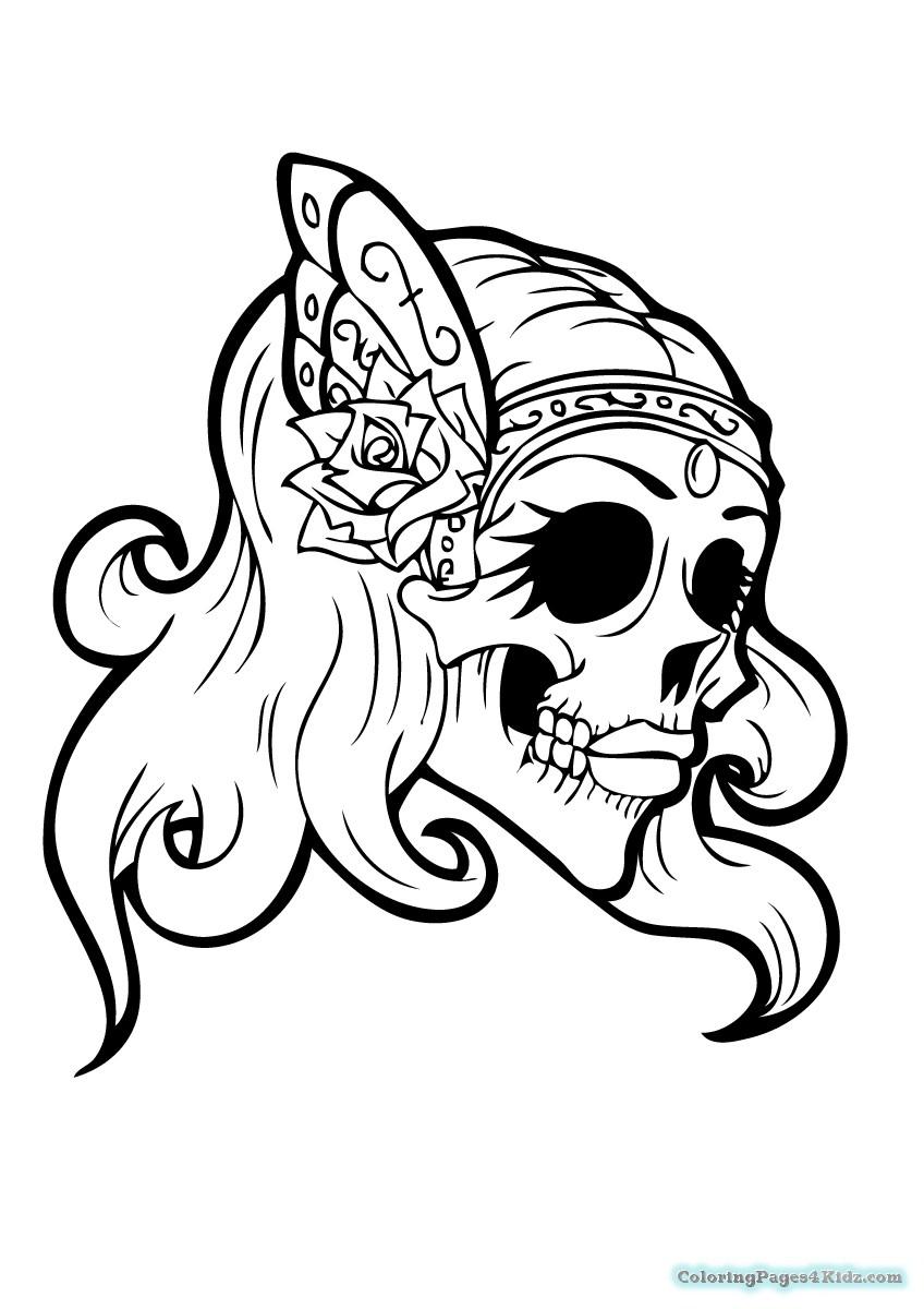 girl skull coloring pages girl sugar skull coloring pages coloring pages for kids girl skull pages coloring