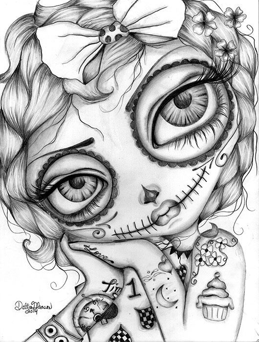 girl skull coloring pages items similar to day of the dead girl coloring page girl pages coloring skull