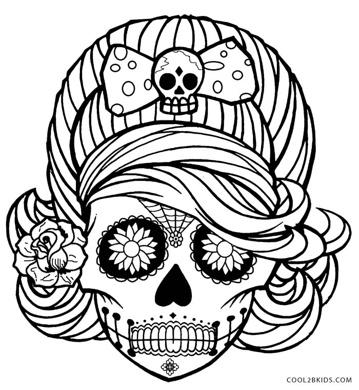 girl skull coloring pages sugar skull girl coloring page free printable coloring pages coloring girl skull pages