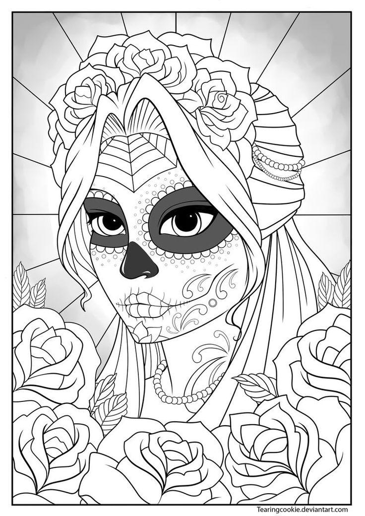 girl skull coloring pages sugar skull girl colouring page by tearingcookie on skull girl pages coloring