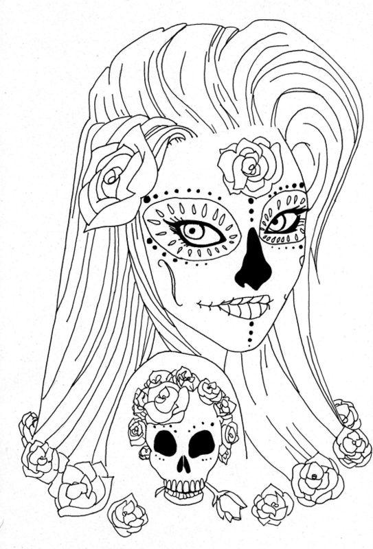 girl skull coloring pages sugar skull girl illustration coloring page ideas skull pages coloring girl skull
