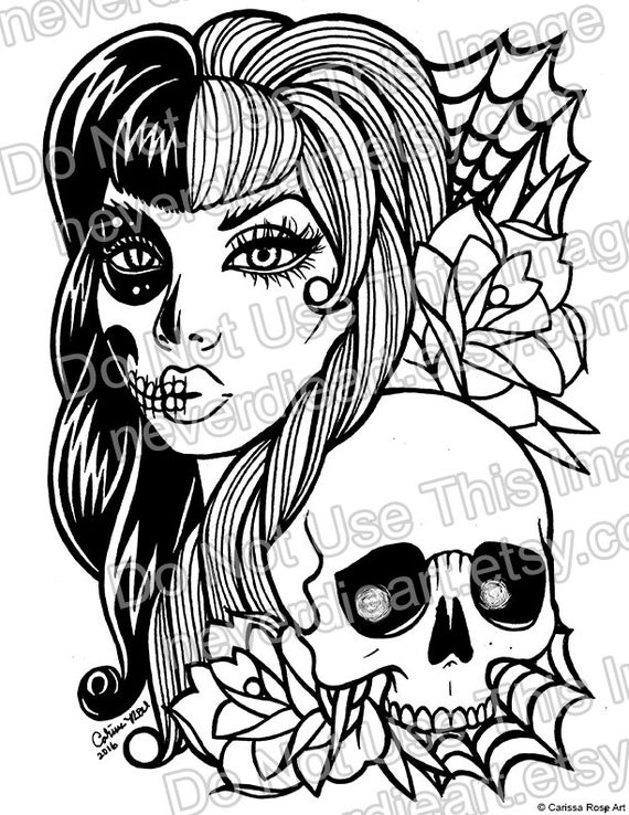 girl skull coloring pages vicious sugar skull girl knife inked by grey alexander skull pages coloring girl