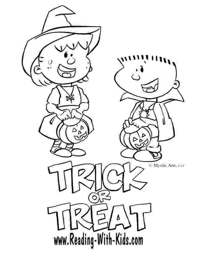 halloween coloring pages trick or treat trick or treat coloring page vector illustration stock pages or coloring treat halloween trick