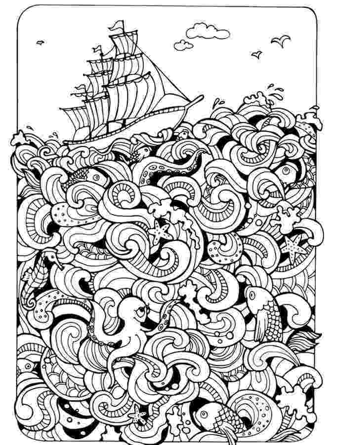 hard fish coloring pages ships nautical doodle hard coloring pages for adults coloring fish hard pages