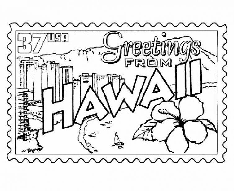 hawaiian themed pictures hawaiian stamp printable coloring page hawaii crafts themed hawaiian pictures