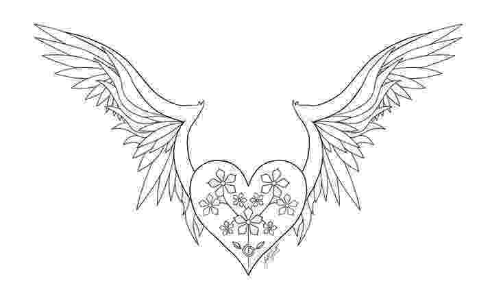 heart coloring pages with wings heart with wings coloring pages at getcoloringscom free with coloring heart wings pages