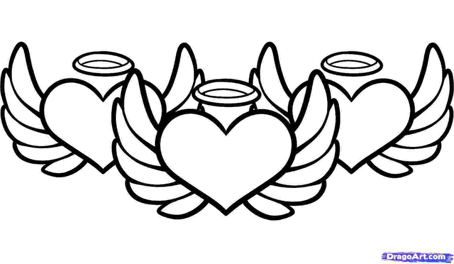 heart coloring pages with wings hearts with wings drawing at getdrawingscom free for heart pages wings with coloring