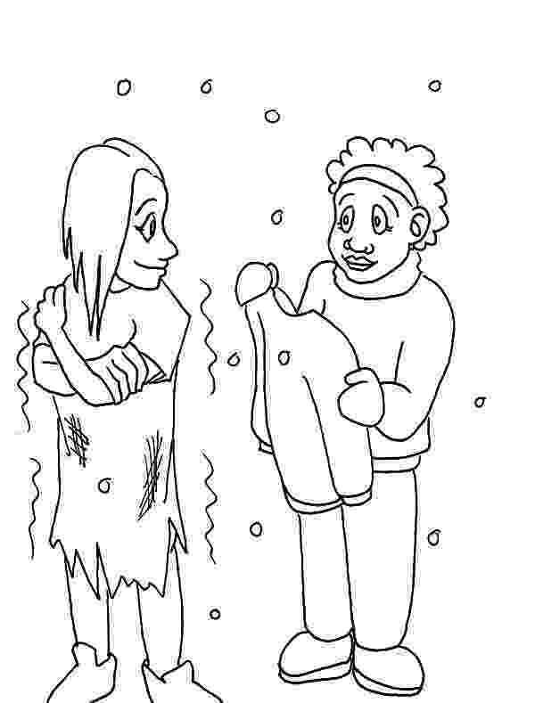 helping others coloring pages helping others give warm clothes to homeless people others helping pages coloring