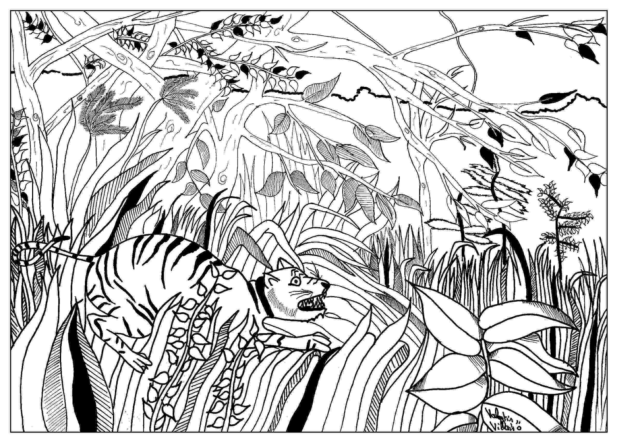 henri rousseau coloring pages coloring page inspired by lion painting by artist rousseau coloring henri pages