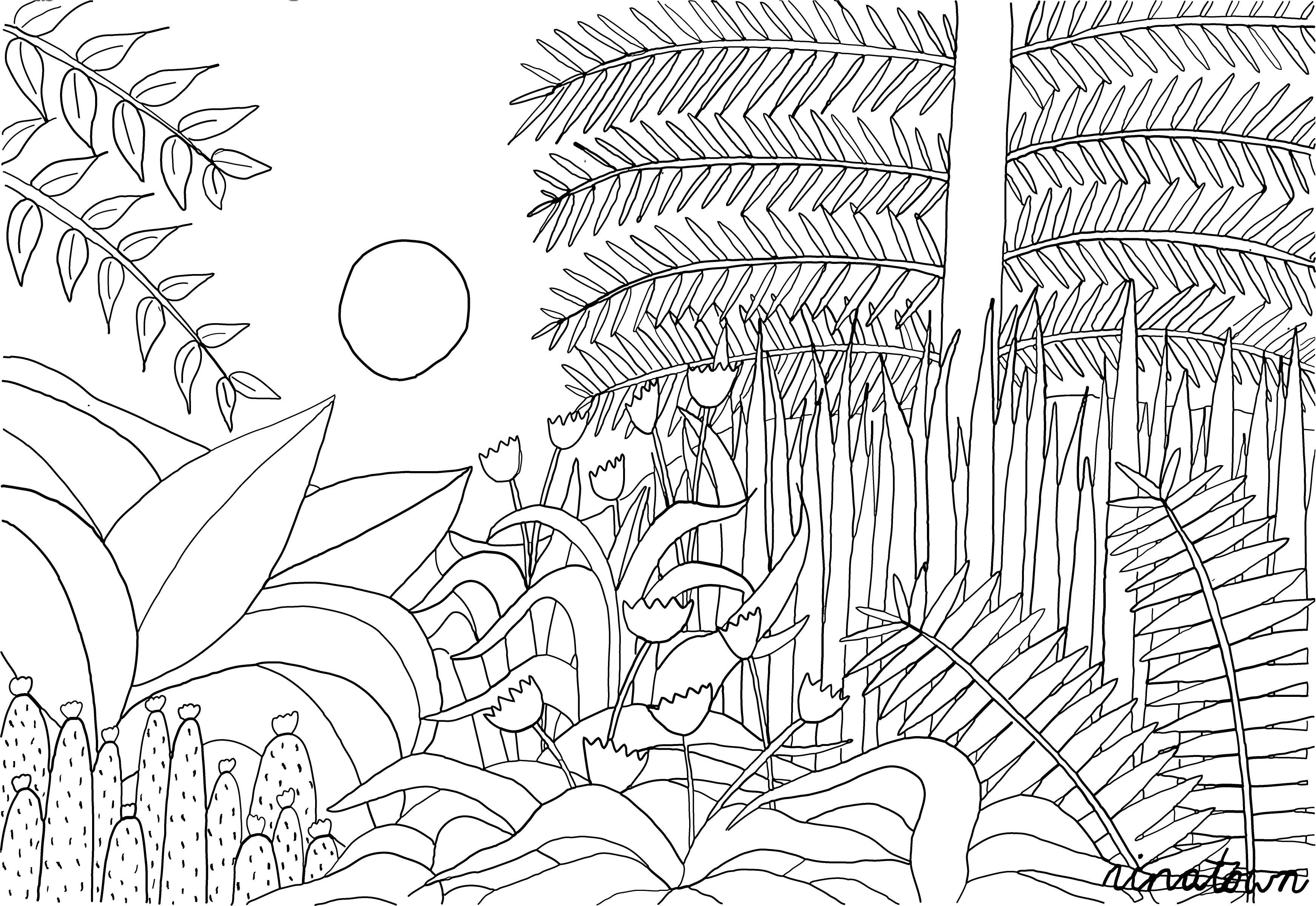 henri rousseau coloring pages quotfantastic jungles of henri rousseauquot coloring page rousseau henri pages coloring
