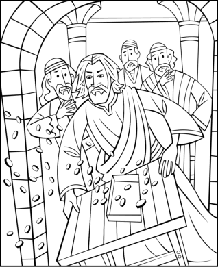 jesus and the money changers coloring page jesus chasing the money changers from the temple coloring page changers and the money jesus coloring