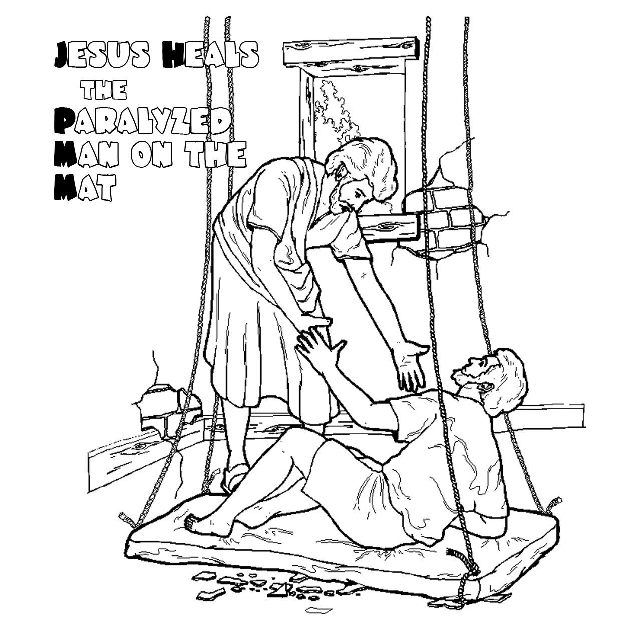 jesus heals a paralyzed man coloring page jesus heals paralysed man colouring google search man a paralyzed heals coloring page jesus