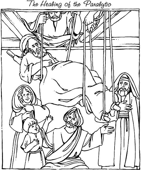 jesus heals a paralyzed man coloring page the paralytic drops down from the roof to be healed a page paralyzed heals jesus coloring man