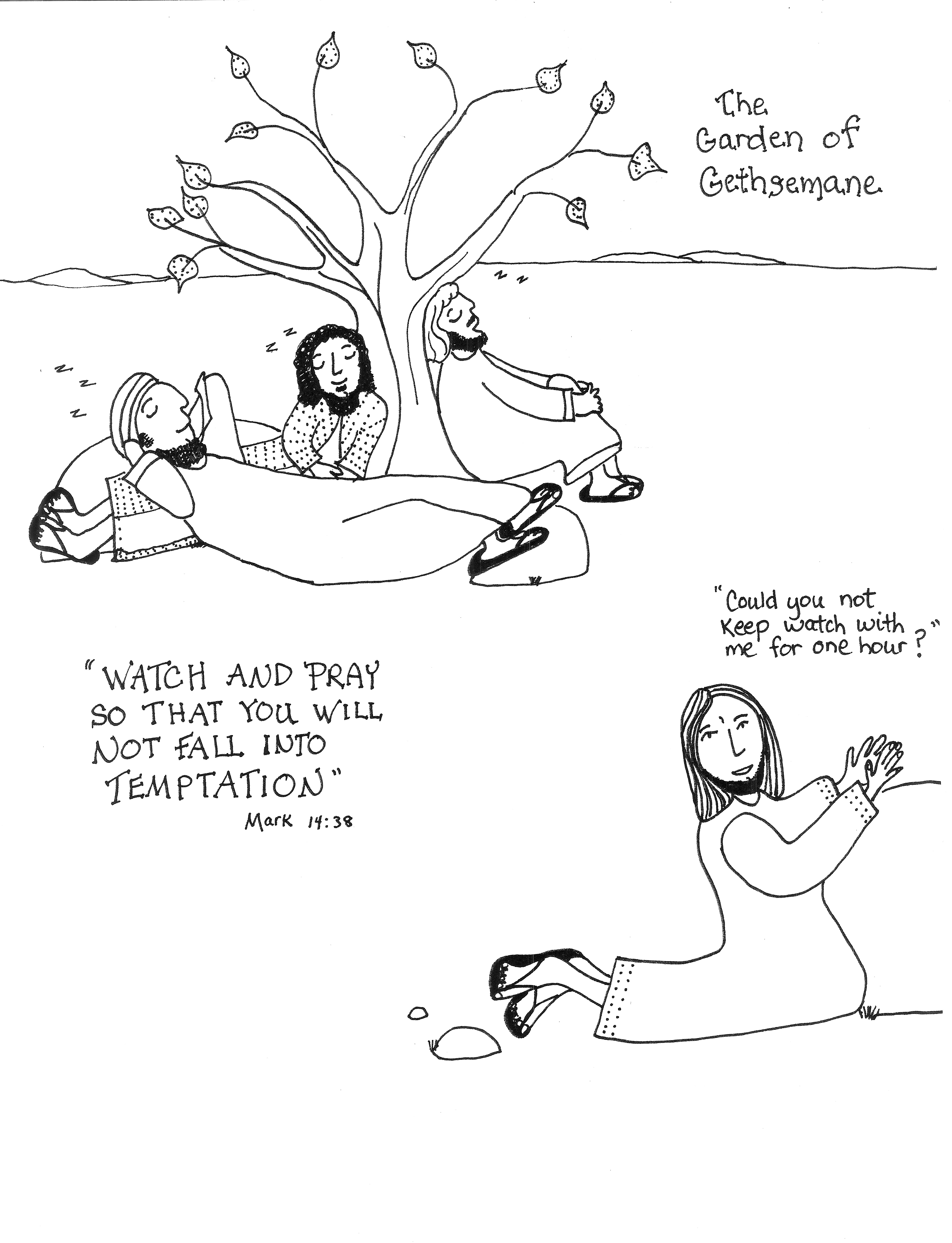 jesus in the garden of gethsemane coloring page sleeping aunties bible lessons of page in gethsemane jesus the garden coloring