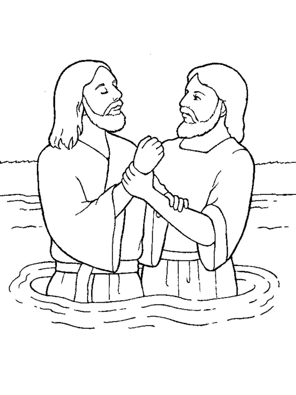 john baptizes jesus coloring page jesus baptized by john the baptist coloring page for baptizes john coloring page jesus