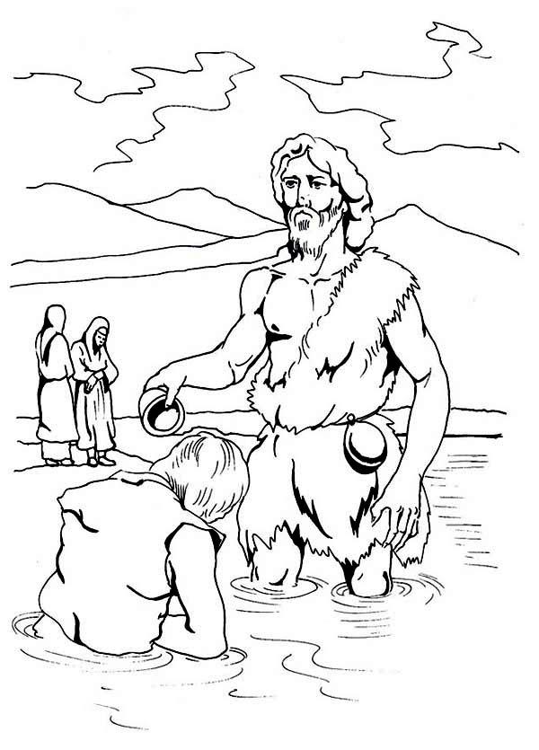 john baptizes jesus coloring page john the baptist coloring page jesus john baptizes