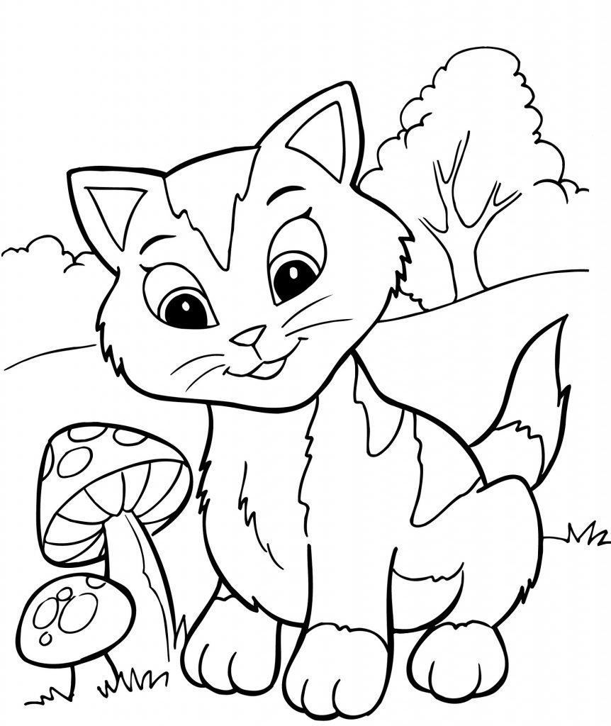 kitten color page animals letmecolor kitten page color