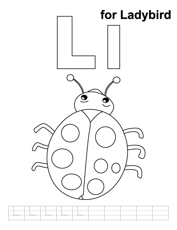 l is for ladybug l for ladybird coloring page with handwriting practice is ladybug l for