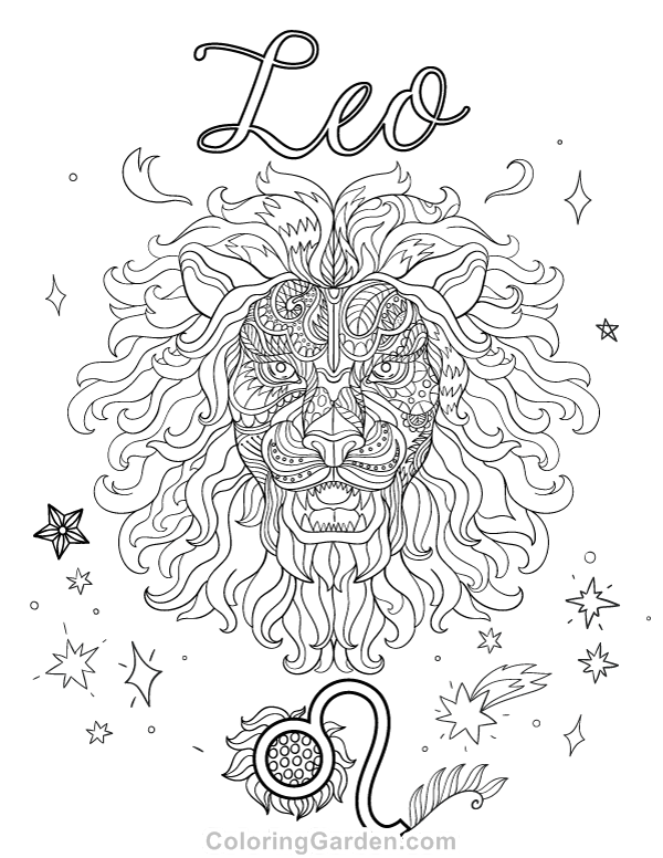 leo coloring pages leo adult coloring page leo pages coloring