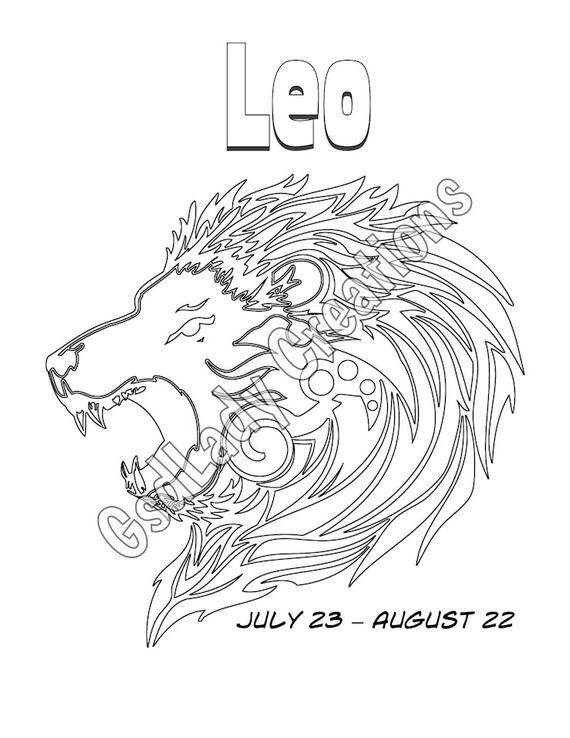 leo coloring pages leo zodiac star sign art print astrology print coloring leo pages coloring