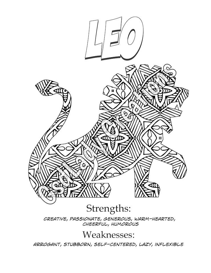 leo coloring pages zodiac art print leo astrology print coloring page novelty leo coloring pages