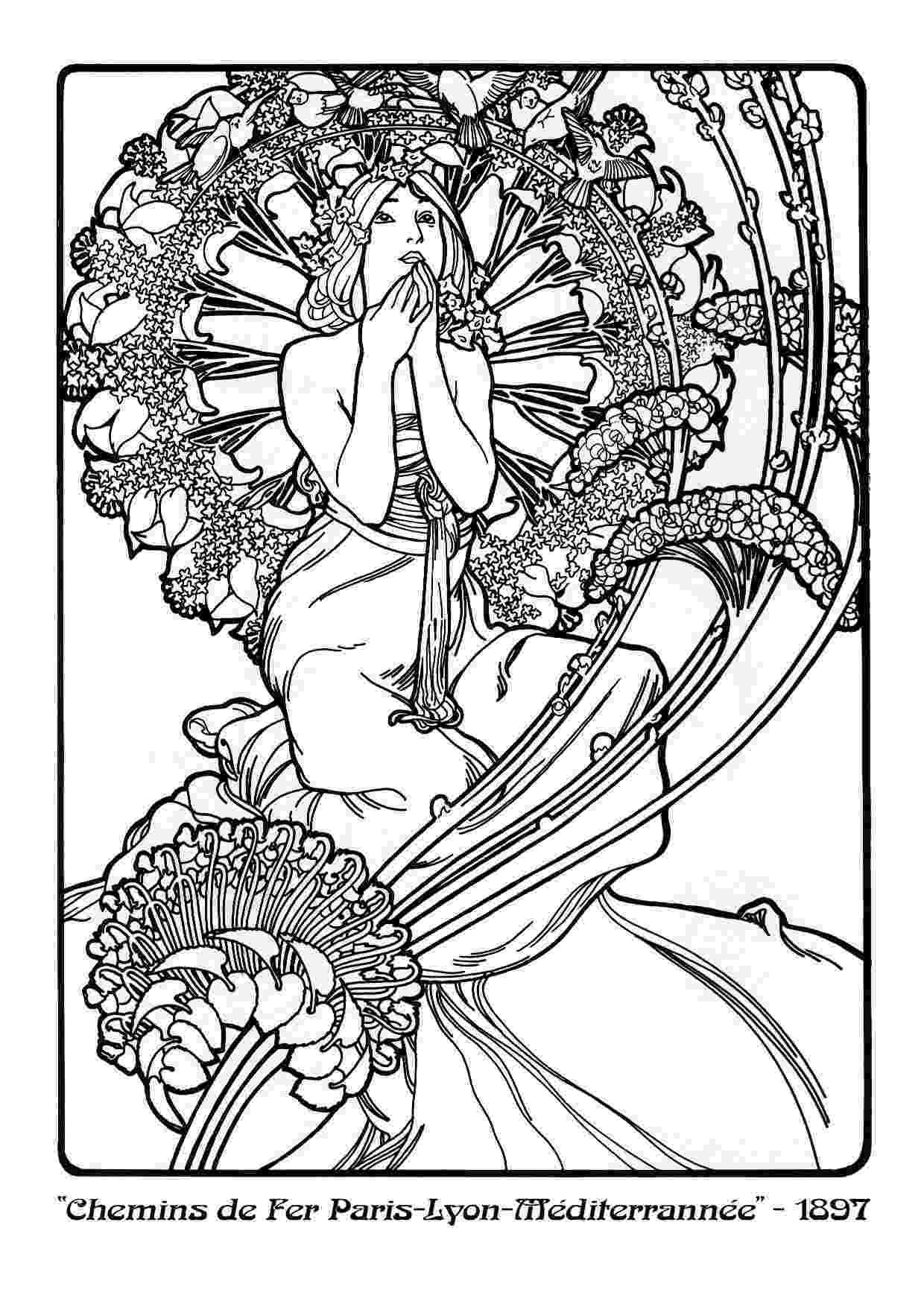 line art coloring book alphonse mucha line art alfons mucha39s art nouveau works book line art coloring