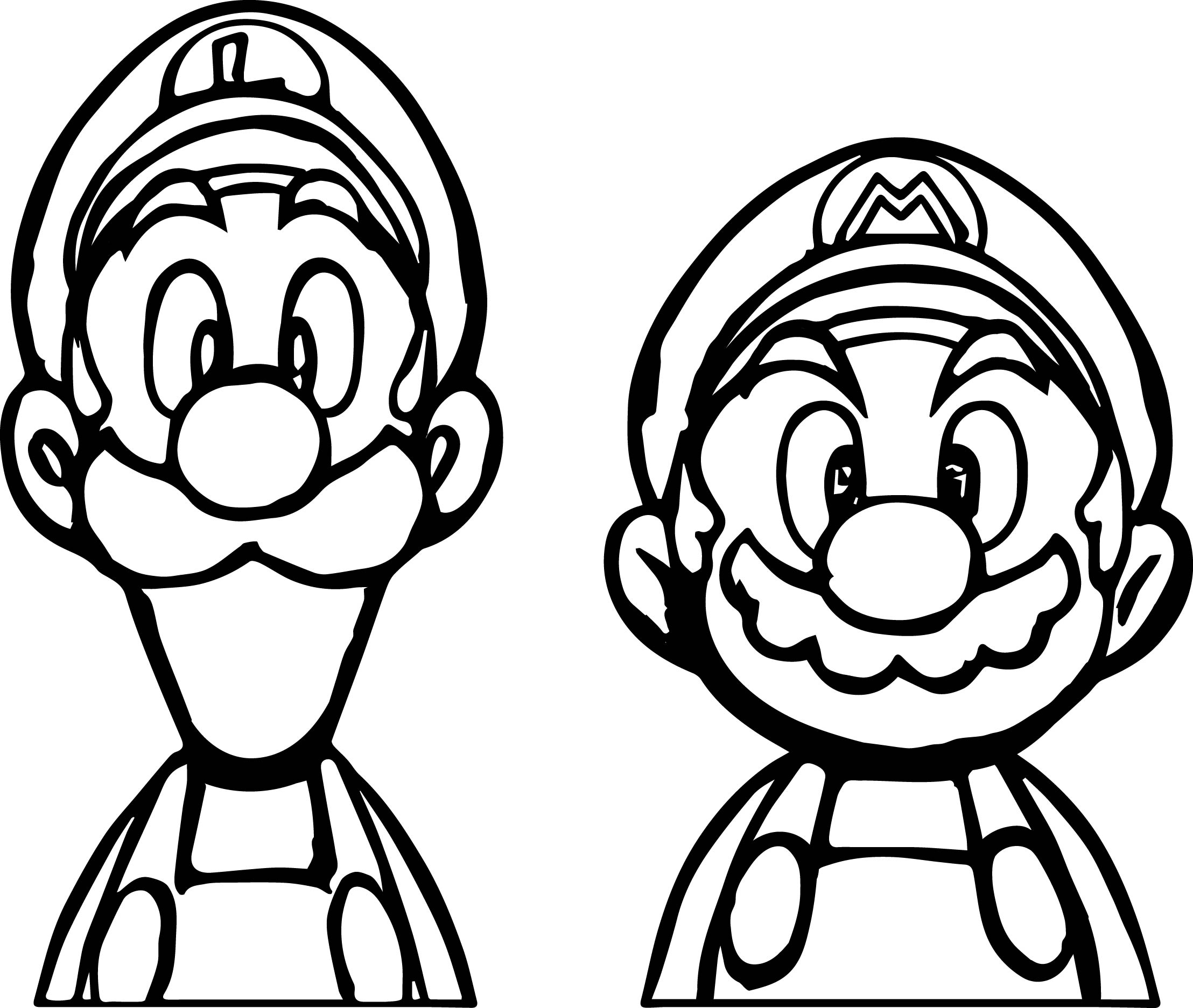 mario and luigi coloring colouring pages of mario yoshi luigi and wario for kids luigi and mario coloring