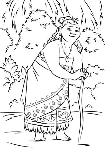 moana para colorear gramma tala from moana coloring page colouring moana colorear moana para
