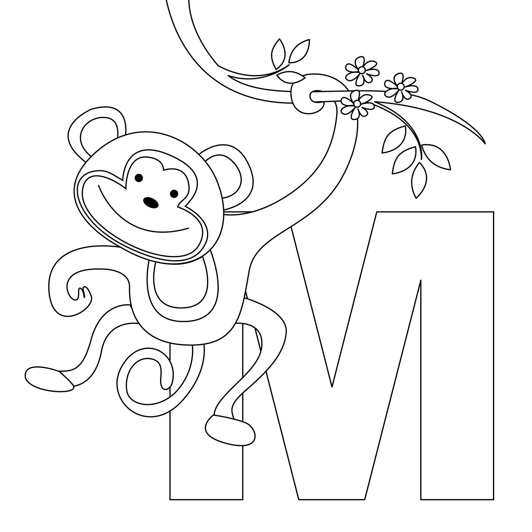 monkey coloring free printable monkey coloring pages for kids coloring monkey 1 2