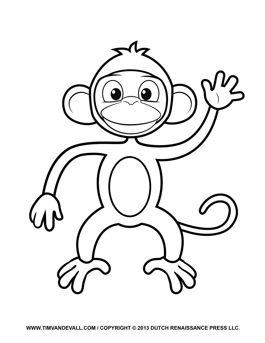 monkey coloring printable monkey clipart coloring pages cartoon crafts monkey coloring