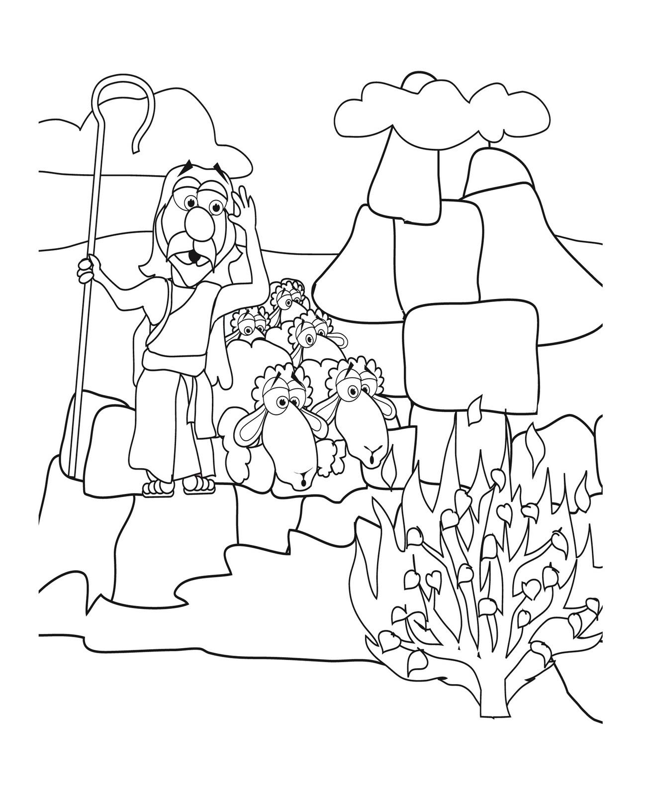 moses coloring sheet mr biblehead moses and the nonburning bush exodus 3 coloring moses sheet