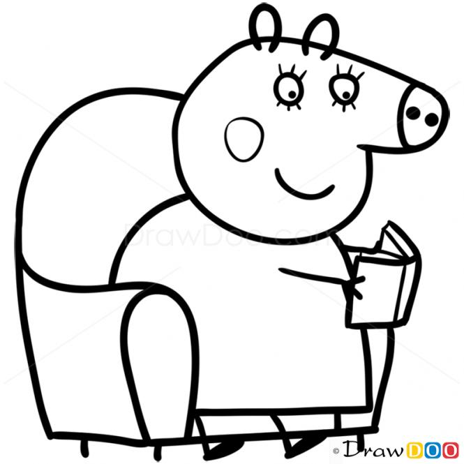 mummy pig peppa pig mummy pig rain coloring book pages kids fun pig mummy