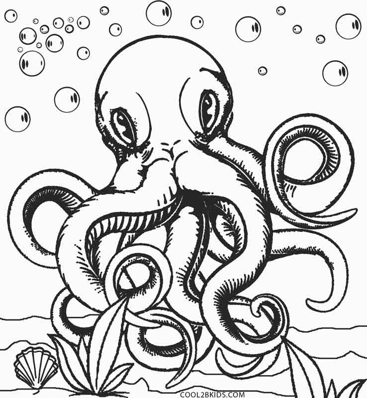 octopus color page octopus coloring pages octopus color page