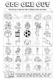 odd one out printable english exercises odd one out one odd printable out