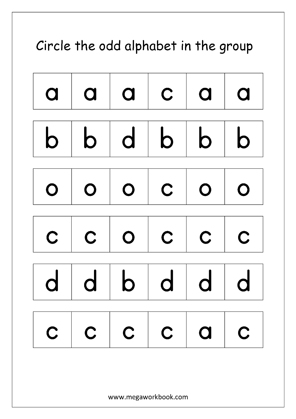 odd one out printable english worksheet confusing alphabets circle the odd out printable one odd